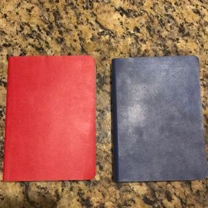 Graph Paper Leather Journals - 1 Red & 1 Blue; NWT